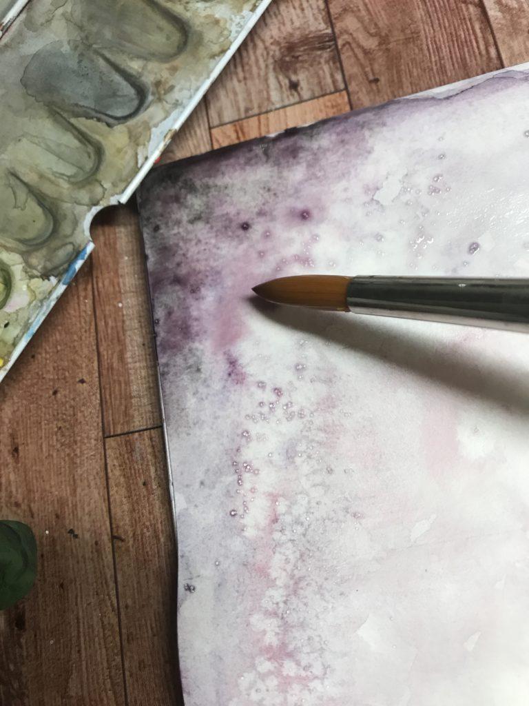 Salz auf einem Aquarellbild