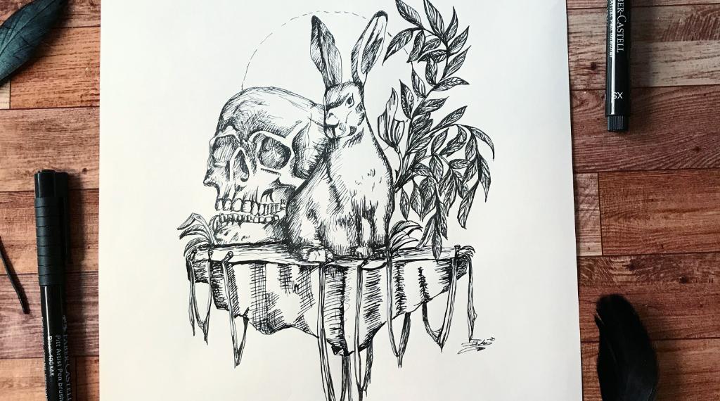 Schraffiertes Bild Mit Hase und Schädel