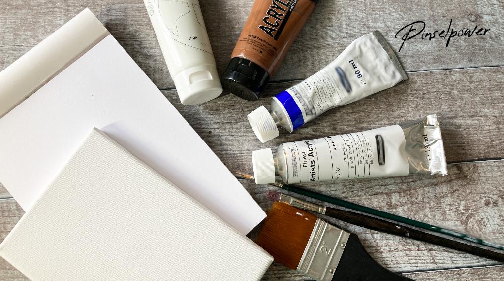 Acrylfarben Anfänger, Farben und Materialien auf Holzuntergrund